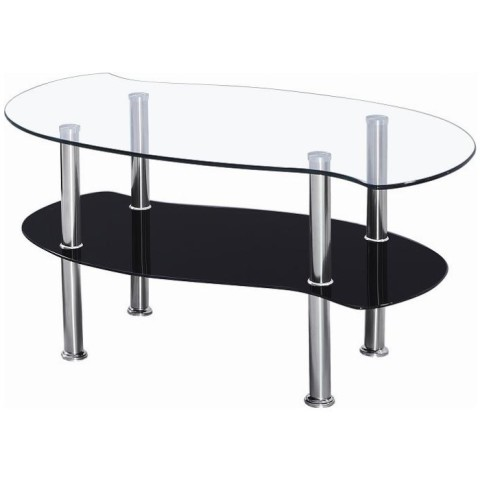 Colby Clear and Black Glass Coffee Table