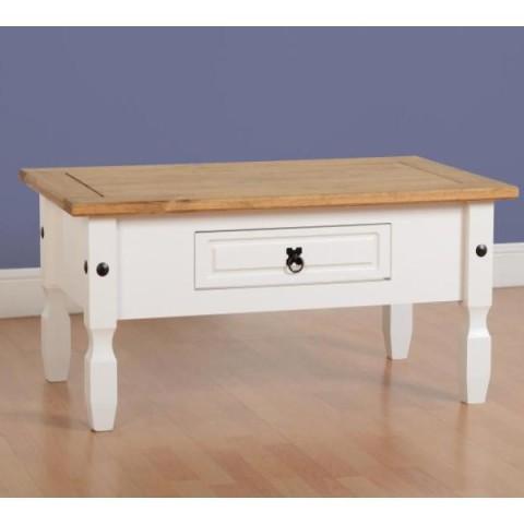 Corona Solid Pine & White Coffee Table