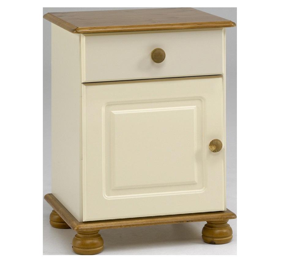cream and pine bedside - FurnitureKraze Ltd Richmond Antique Pine 1 Drawer 1 Door Bedside