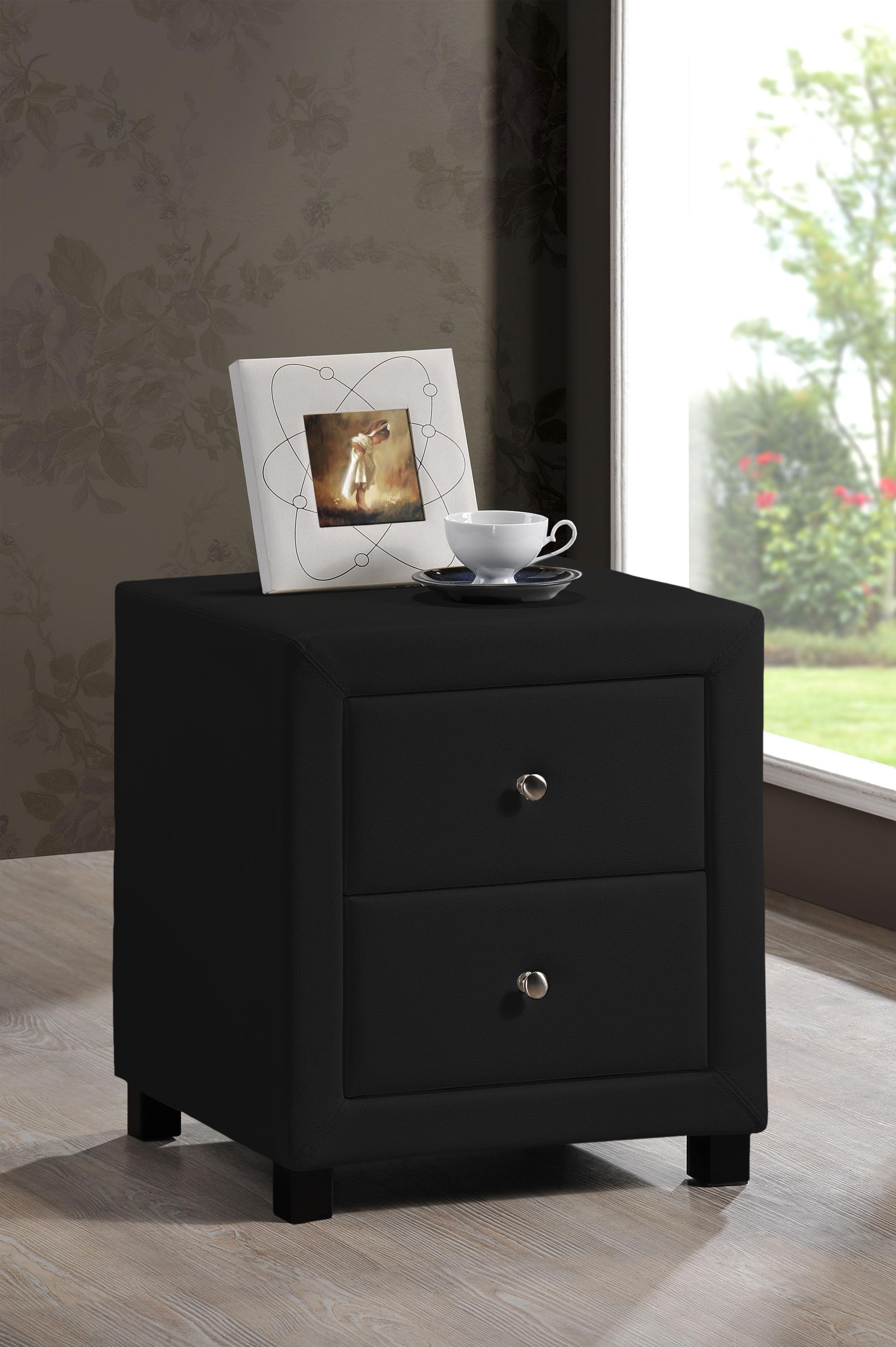 Furniturekraze ltd chelsea 2 drawer faux leather bedside black prev watchthetrailerfo